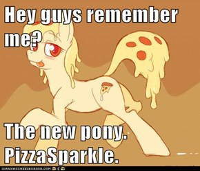 Hey guys remember me?  The new pony. PizzaSparkle.