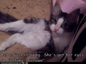 "Bette just relaxing. She's got her eyes on Foofany's ""crown""."