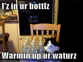 I'z in ur bottlz  Warmin up ur waturz