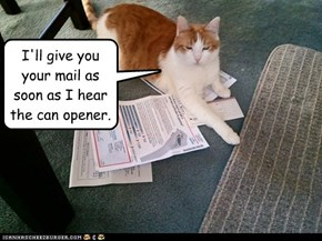 I'll give you your mail as soon as I hear the can opener.