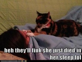 heh they'll fink she just died in her sleep lol