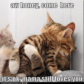 aw honey, come  here  it's ok, mama still loves you