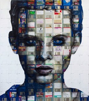 Workplace WIN: Artist Nick Gentry Creates Portraits With Floppy Disks