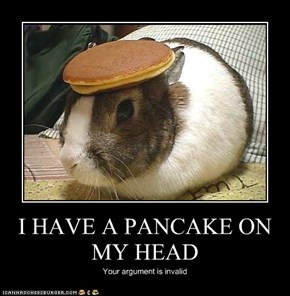 I HAVE A PANCAKE ON MY HEAD