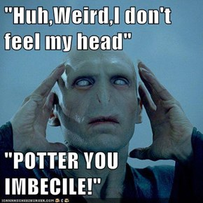 """Huh,Weird,I don't feel my head""  ""POTTER YOU IMBECILE!"""
