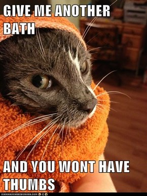GIVE ME ANOTHER BATH  AND YOU WONT HAVE THUMBS