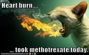 Heart burn....  ... took methotrexate today.