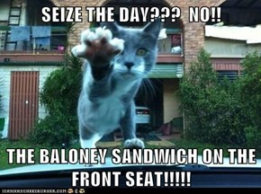 SEIZE THE DAY???  NO!!  THE BALONEY SANDWICH ON THE FRONT SEAT!!!!!