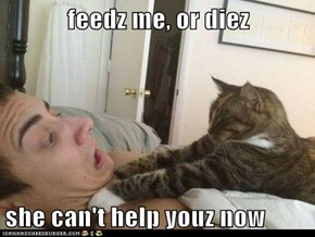 feedz me, or diez  she can't help youz now