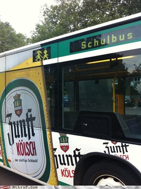 A Schoolbus With Beer Advertisements... Uh Huh. Okay.