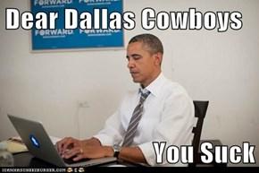 Dear Dallas Cowboys  You Suck