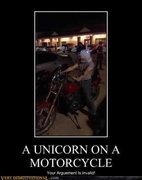 A UNICORN ON A MOTORCYCLE