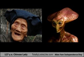 127 y.o. Chinese Lady Totally Looks Like Alien fom Independence Day
