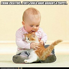 THINK POSITIVE... THEY COULD HAVE BOUGHT A PUPPY...