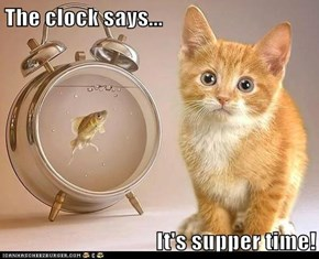 The clock says...  It's supper time!