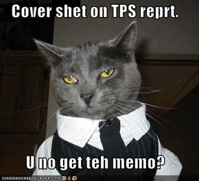 Cover shet on TPS reprt.  U no get teh memo?