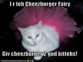 I r teh Cheezburger Fairy  Giv cheezburger 2 gud kittehs!