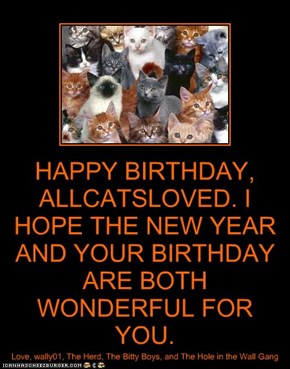 HAPPY BIRTHDAY, ALLCATSLOVED. I HOPE THE NEW YEAR AND YOUR BIRTHDAY ARE BOTH WONDERFUL FOR YOU.