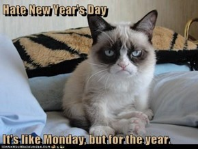 Hate New Year's Day  It's like Monday, but for the year.