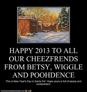 HAPPY 2013 TO ALL OUR CHEEZFRENDS FROM BETSY, WIGGLE AND POOHDENCE
