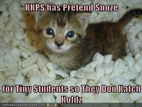 KKPS has Pretend Snoze  for Tiny Students so They Don Katch Koldz