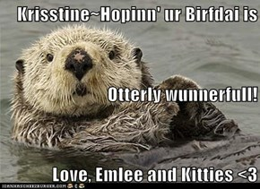 Krisstine~Hopinn' ur Birfdai is  Otterly wunnerfull! Love, Emlee and Kitties <3