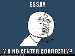 ESSAY  Y U NO CENTER CORRECTLY?