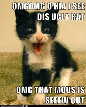 OMGOMG O HIA I SEE DIS UGLY RAT  OMG THAT MOUS IS SEEEW CUT