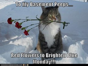 To My Basement Peeps....  Red Flowers to Brighten Blue Monday!!!