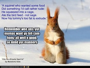 Before leavin fer Mt. Foreber, young squirrels get sum advices from dere teechy