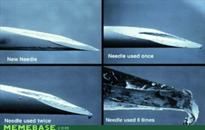The needle of a drug user