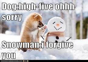 Dog:high-five ohhh sorry  Snowman:i forgive you
