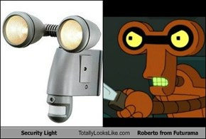 Security Light Totally Looks Like Roberto from Futurama