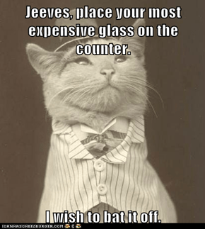 Jeeves, place your most expensive glass on the counter.  I wish to bat it off.