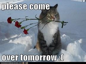 please come   over tomorrow :(