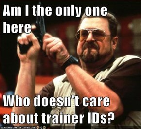 Am I the only one here  Who doesn't care about trainer IDs?