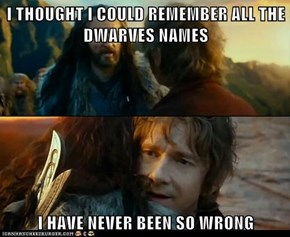 I THOUGHT I COULD REMEMBER ALL THE DWARVES NAMES  I HAVE NEVER BEEN SO WRONG