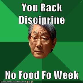 You Rack Disciprine  No Food Fo Week