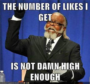 THE NUMBER OF LIKES I GET  IS NOT DAMN HIGH ENOUGH