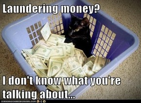 Laundering money?  I don't know what you're talking about...