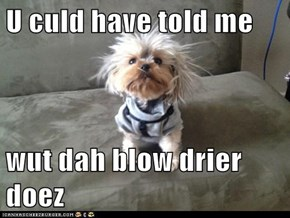 U culd have told me  wut dah blow drier doez