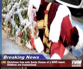 Breaking News - Christmas tree eats Santa Clause at a WWE event.  Children are traumatized.