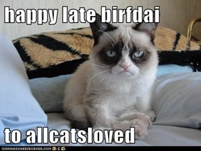 happy late birfdai  to allcatsloved