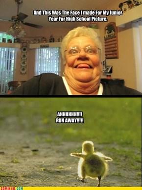 Grandma Scares Baby Chiken