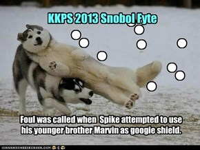 Foul was called when  Spike attempted to use his younger brother Marvin as googie shield.