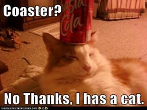 Coaster?  No Thanks, I has a cat.