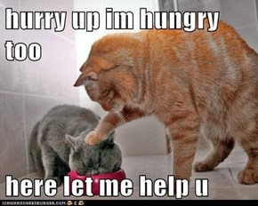 hurry up im hungry too  here let me help u