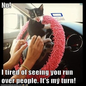 No!  I tired of seeing you run over people. It's my turn!