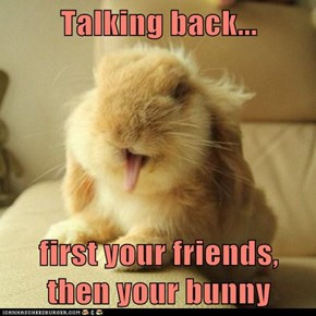 Talking back...  first your friends, then your bunny