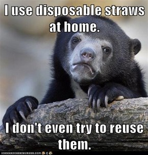 I use disposable straws at home.  I don't even try to reuse them.